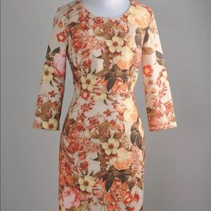 Talbot antique floral bloom dress in vermilion